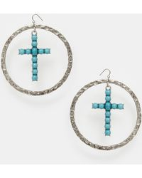 ASOS - Oversized Cross Charm Hoop Earrings - Antique Silver - Lyst