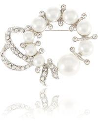 R.j. Graziano - Faux Pearl Wreath Brooch - Lyst