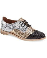 All Black Glitter-Panelled Leather Saddle Shoes - Black