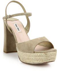 Miu Miu | Suede Espadrille Platform Sandals | Lyst