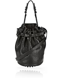 Alexander Wang Small Diego In Pebbled Black With Matte Black - Lyst