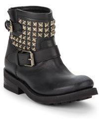 Ash Tramp Studded Leather Ankle Boots - Lyst
