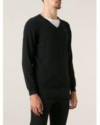 Diesel Black Vneck Sweater - Lyst