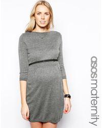 Asos Maternity Knitted Slash Neck Skater Dress With Belt - Lyst