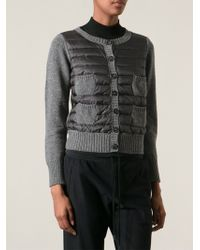 Moncler Gray Padded Cardigan - Lyst