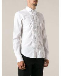 Ermanno Scervino Pleat Detail Tuxedo Shirt - Lyst