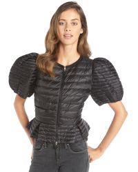 Moncler Black Nylon Down Filled Short Sleeve Agache Peplum Jacket - Lyst