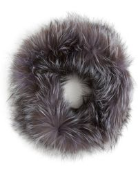 Surell Fox Fur-infinity Scarf - Grey