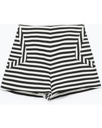 Zara Black Striped Shorts - Lyst