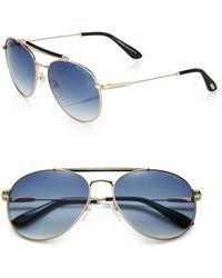 Tom Ford Colin Metal Aviator Sunglasses - Lyst