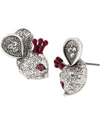 Betsey Johnson Crystallized Mouse Stud Earrings - Lyst