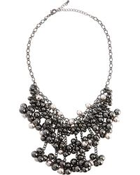 Fragments Pearly Hematite Beaded Bib Necklace - Lyst