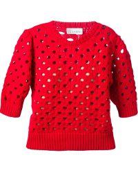 RED Valentino Crochet Knit Sweater - Lyst