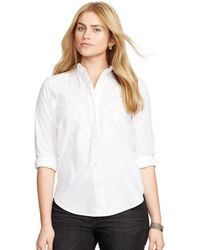 Pink Pony Embroidered Bib-front Shirt - White