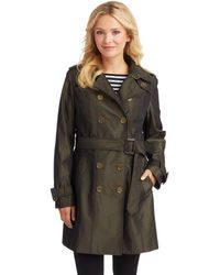 London Fog - Belted Iridescent Trench Coat - Lyst