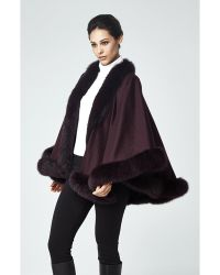 Sofia Cashmere Pure Cashmere Wrap Cape Trimmed With Real Dyed Fox purple - Lyst