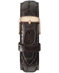 Daniel Wellington - 'classic York' 20mm Embossed Leather Watch Strap - Dark Brown/ Rose Gold - Lyst
