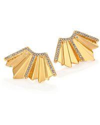 Giles & Brother | Ray Fan Pavé Crystal Earrings/goldtone | Lyst