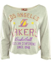 Sportiqe Women'S Long-Sleeve Los Angeles Lakers Crop Top - Gray