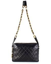 Chanel Pre-Owned Black Quilted Shoulder Bag - Lyst