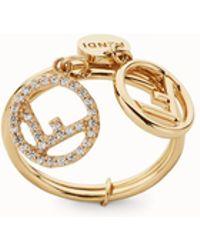 Fendi - Double-logo Charm Ring - Lyst
