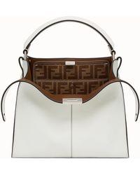84b7efb4e43 Fendi Mini Peekaboo Leather Bag, White, One Size in White - Lyst