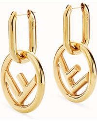 6819846fc734 Lyst - Fendi Logo Hoop Earrings in Brown