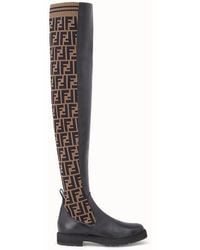 Fendi Ff Motif Thigh-high Boots - Black