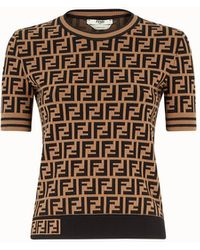 Fendi Logo Knit T-shirt - Brown