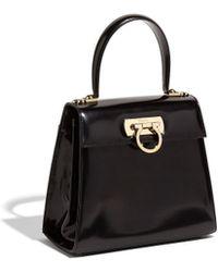 11156966f6 Lyst - Ferragamo Small Batik Saffiano Leather Top Handle in Black