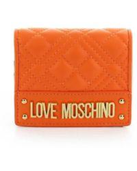 Love Moschino QUILTED KLEINE GELDBÖRSE - Orange