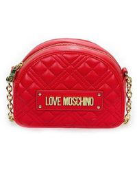 Love Moschino Quilted Nappa Rode Kleine Crossbody Tas - Rood