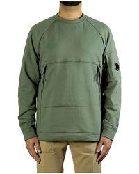 C.P. Company Diagonal Raised Fleece Lens Sweatshirt - Groen