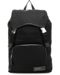 Calvin Klein White Logo Black Backpack With Flap