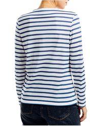 Saint James Cassis Wit Marinet-shirt Met Lange Mouwen - Blauw