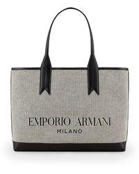Emporio Armani Grijze Canvas Shopper - Grijs