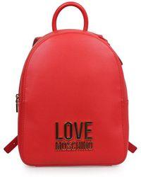 Love Moschino Rode Rugzak Met Logo - Zwart