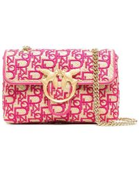 Pinko Love Mini Puff Soft Rafia Magenta Crossbody Tas - Roze