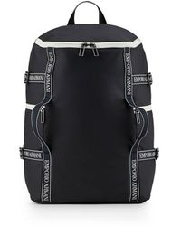 Emporio Armani Navy Backpack With White Logo - Blue