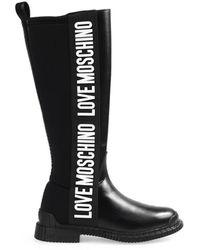 Love Moschino Zwarte Hoge Laars Met Wit Logo