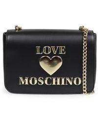 Love Moschino BORSA A TRACOLLA GRANDE NERA LOGO - Nero