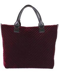 Pinko Burgundy Velvet Ararat Large Shopper - Rood