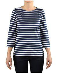 Saint James Galathee Ii Navy White T-shirt 3/4 Sleeves - Blue