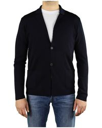 Roberto Collina Navy Wool Knitted Jacket - Blue