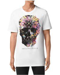 Philipp Plein Ss Colorful Skull T-shirt - Wit