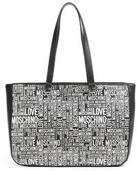 Love Moschino SAC CABAS LOGO BLANC - Noir