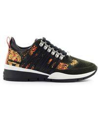 DSquared² 251 Donker Goen Tiger Print Sneaker - Zwart