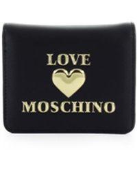 Love Moschino Zwarte Kleine Portemonnee Met Logo