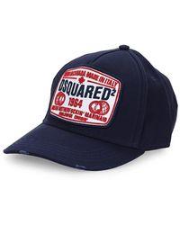 DSquared² Marineblauwe Baseball Cap Met Witte Patch