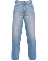 Pinko Flexi Maddie Mom Fit Faded Effect Jeans - Blue